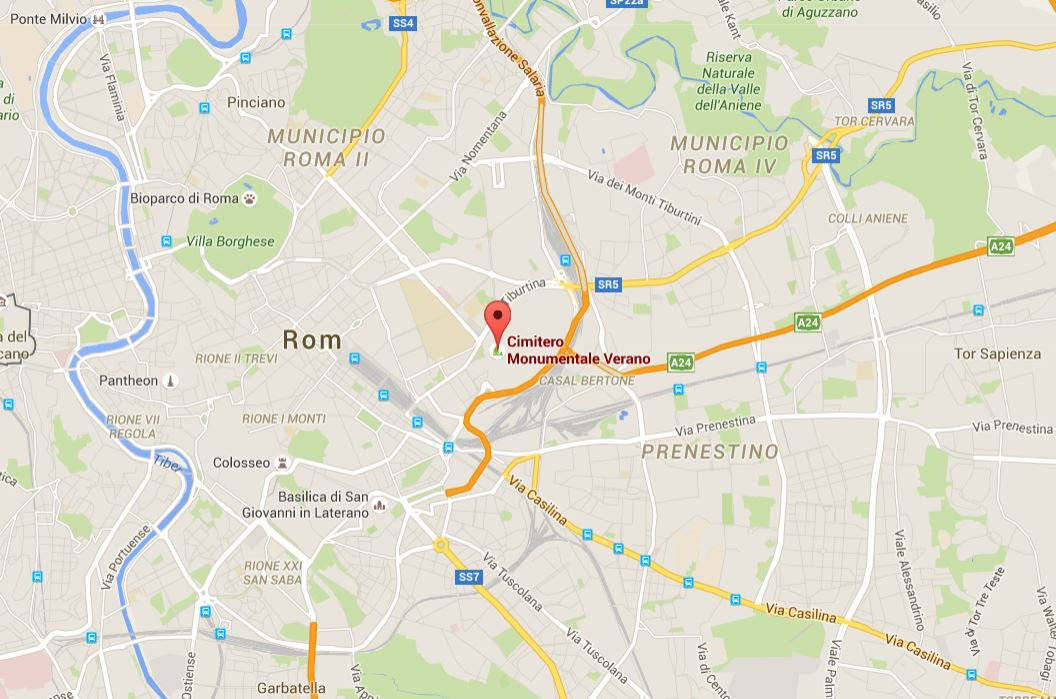 Lage vom Del Verano Friedhof in Rom